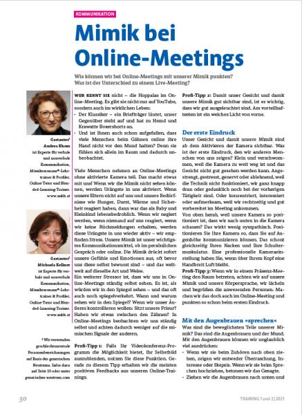 Mimik bei Online-Meetings